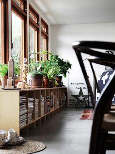 Photographer Petra Bindel via Blissful Blog. Low book shelf, large windows, plants, lighting, Andy Warhol print.