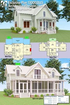 Architectural Designs Exclusive Delightful Cottage House Plan 130002LLS has large rear screened in porch with a deck off the loft above. and over 1,700 square feet of heated living space. Ready when you are. Where do YOU want to build?