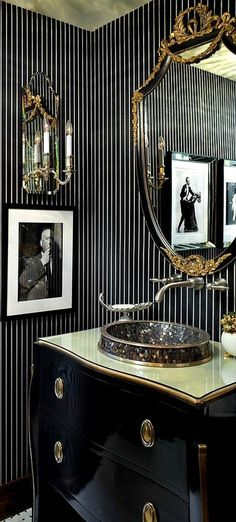 Art Deco Powder Room with Gold leaf ceiling, Glass counters, BellaTerra Home - 203057B-WH 35.4 Inch Single Sink Vanity
