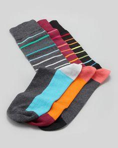 Men\'s Striped Socks, 3-Pack  by Arthur George by Robert Kardashian at Neiman Marcus.