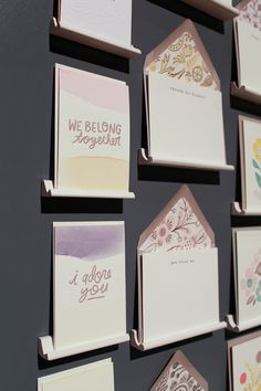 Dip dyed cards by Moglea in the Ladies of Letterpress booth at NSS 2012 | via ohsobeautiful paper