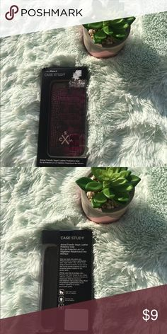 Pink and black iPhone 6 case Pink and black iPhone 6 case Animal friendly vegan leather protective case The white stuff at the top is from the tag New and still in box Accessories Phone Cases