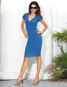 Sommerkleid mit Tupfen in den Farben royal / weiß, marine / weiß, taupe / weiß, schwarz / weiß - royalblau, navy, navyblau - blau, weiß, taupe, schwarz - im MADELEINE Mode Onlineshop
