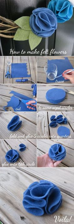 Everyday Ebullience: diy: felt flowers for baby headbands Felt Diy, Felt Crafts, Fabric Crafts, Sewing Crafts, Diy And Crafts, Sewing Projects, Craft Projects, Felt Flowers, Diy Flowers