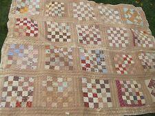 Antique 1870 Victorian New England Patchwork Quilt, Mass, Artisanat, Main Sewn CADEAU