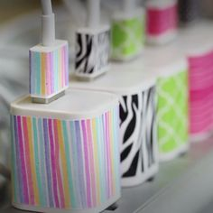 How to customize your phone charger *iphone ideas* diy home decor, washi ta Diy And Crafts Sewing, Fun Crafts, Crafts For Kids, Sewing Diy, Upcycled Crafts, Kids Diy, Diy For Teens, Fabric Crafts, Diy Decorate Phone Charger