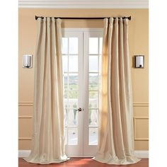Antique Beige Faux Silk Taffeta Window Curtain 108 Inches Single Panel Light Brown Fabrics Solid Color Window Treatment Lined Energy Efficient