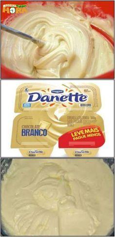 Danete Branco Caseiro #DaneteBrancoCaseiro #DaneteBranco #DaneteCaseiro #Receitatodahora Chocolate, Food Truck, Oreo, Mousse, Yogurt, Icing, Yummy Food, Candy, Sweet