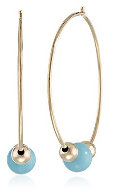 14k Yellow Gold Endless Hoop with TurquoiseColored Bead Earrings >>> Click image to review more details.