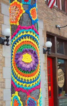 art...yarn bombs are created with only recycled and collected yarn
