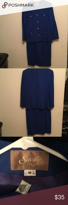 Blue Women's skirt set like NEW Blue Saville Women's skirt & blazer set like NEW, size 16 100% pure wool. Saville Other