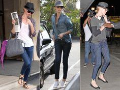 Charlize + jeans + lenço + chapéu + óculos (sempre)