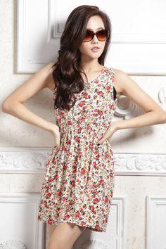 Floral tank dress - 60321  USD $8.00