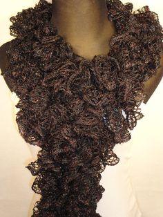 Crocheted Black Ruffle Scarf - Ladies Ruffle Scarf - Ruffle Scarves - Crocheted Scarves - Black Scarf - Ruffled Scarf by HappyNanaba, $9.00 USD