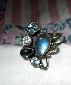RING   - LABRADORITE - Blue TOPAZ - 925 - Sterling Silver - size 9 1/2 blue189 by MOONCHILD111 on Etsy