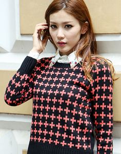 Descriptions: SKU Code: Size: Free Size (* refer to size chart for details) Color: Blue, Black Material: Polyester Fiber Insulation: Normal Season: Spring, Autumn & Winter Round neck, long sleeve, sweat color design Winter Outfits Women, Cross Designs, Winter Sweaters, Winter Clothes, Pullover Sweaters, Turtle Neck, Long Sleeve, Color, Fashion