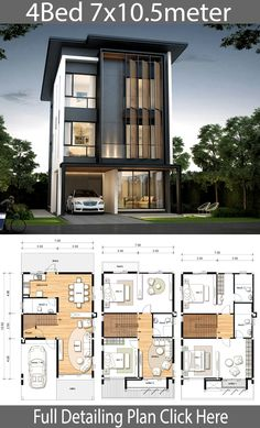 House design plan with 4 bedrooms House design plan with 4 bedrooms. Style ModernHouse description:Number of floors 3 storey housebedroom 4 roomstoilet 4 roomsmaid's room 4 Bedroom House Designs, Duplex House Design, Duplex House Plans, House Layout Plans, House Front Design, Small House Design, House Layouts, Modern House Design, Design Bedroom
