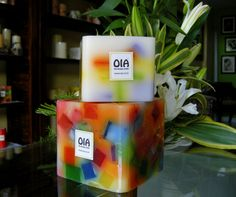 Rainbow-chip Cube Candles by #OiaDesign.  All our candles are lovingly handcrafted and can be made to-order. Contact : 00-91-20-30525564 /00-91-9970049000 or email us at:  | cinzania@ oia.co.in |  #ShareTheHappiness #Handmade #candles #CorporateGifting #HomeDecor #Gifts #Pune #India