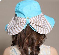 Fashion bow bucket hat for women wide brim stripe printing sun hats