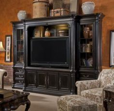 Villa Cascina Entertainment Wall System. Shown in 951 finish. Visit our website for complete details, as well as a retailer near you.