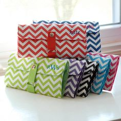 Our Chevron Makeup Roll Brush Set is the one accessory no girl can go without! With their brightly colored, chevron print exteriors complimented by their solid hued, brush filled interiors, these microfiber roll ups are the ideal combination of over the top style and under budget appeal. Fashioned in microfiber and personalized with your name or monogram at no extra cost, these easy to clean accessories are just the right amount of fabulous and fun! #timelesstreasure