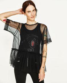 画像 1 の コントラストデザインチュールTシャツ ザラから