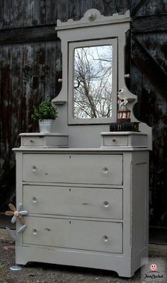 Grey dresser with mirror by FunCycled. FOR SALE only $425. www.funcycled.com