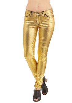 Gold On to the Night Jeans - Denim, Woven, Gold, Solid, Pockets, Holiday Party, 90s, Statement, Skinny, Fall, Long, Best, Low-Rise, Full length, Gold, Colored, Denim, Vintage Inspired, Winter
