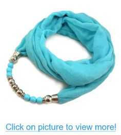 Four Season Women's Muse Long Scarf Necklace with Viscose Fabric Glass Bead