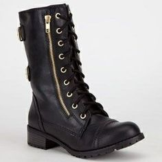 SODA Dome Combat Boot, Laces, Zipper, Black Leather Womens Boots #Shoes #Shoe. Perfect for fall or winter 2013 - 2014. Wear with a cute skirt, jeans or dress ♥ Find this look at @SPARKTREND for $34, click the image to see!