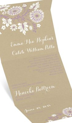 Boho floral Seal and Send wedding invitation from the David Tutera Wedding Collection on Invitations by Dawn. Shown in lavender. #purplewedding #loveyourinvites