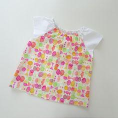 キャンディリボンちょうちょスモック80~120サイズ♡ピンク 子供服 *norie ハンドメイド通販・販売のCreema