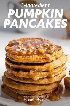 Paleo Pumpkin Pancakes with Caramel Sauce Paleo Pumpkin Pancakes, Pumpkin Dessert, Pumpkin Cheesecake, Pumpkin Recipes, Fall Recipes, Cooking Pumpkin, Sweet Recipes, Dinner Recipes, Paleo Breakfast