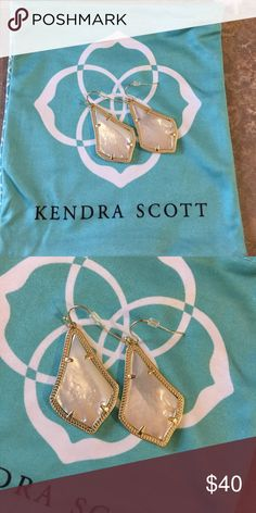 """Kendra Scott Alex Opal and Gold Earrings 2"""" drop; 1"""" width French wire 14k-gold, rose-gold or antiqued brass plate. Excellent condition, comes with Bag Kendra Scott Jewelry Earrings"""