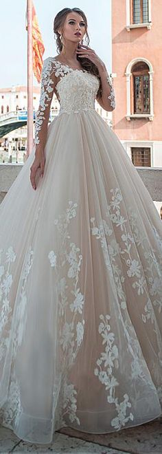 Junoesque Tulle Scoop Neckline A-line Wedding Dresses With Lace Appliques & Beadings