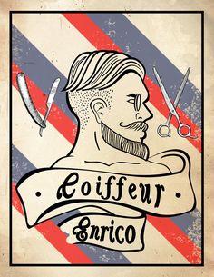 Coiffeur Logo #wacomintuos vintage old school