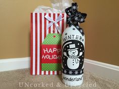 Snowman UPcycled Wine Bottle Decoration by UNcorkedUPcycled on Etsy