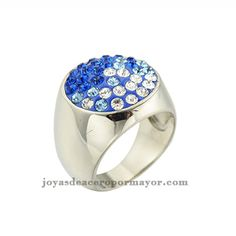 anillo cristal azul de acero inoxidable