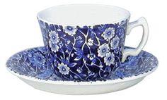 Burleigh - Cup & Saucer - Calico Blue