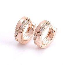 18K Rose Gold GP Cubic Zirconia Huggie Hoop Ladies Earrings 13mm