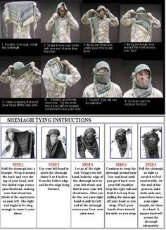 Shemagh Head Neck Scarf tying instructions
