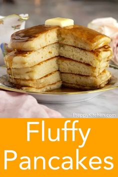 perfect, fluffy pancake recipe from Preppy Kitchen is so easy and ultimately rewarding! You'll love these tender, melt in your mouth pancakes with a drizzle of maple syrup. Make them for your holiday brunch. Dairy Free Pancakes, Pancakes Easy, Buttermilk Pancakes, Making Pancakes, Banana Pancakes, Breakfast Dishes, Breakfast Recipes, Pancake Recipes, Homemade Pancakes Fluffy