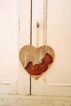 Tableau coeur nounours sur bois accroche porte shabby chic
