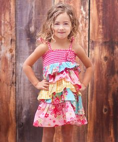 Take a look at this Pink Patchwork Tiered Ruffle Dress - Toddler & Girls by Jelly the Pug on #zulily today!