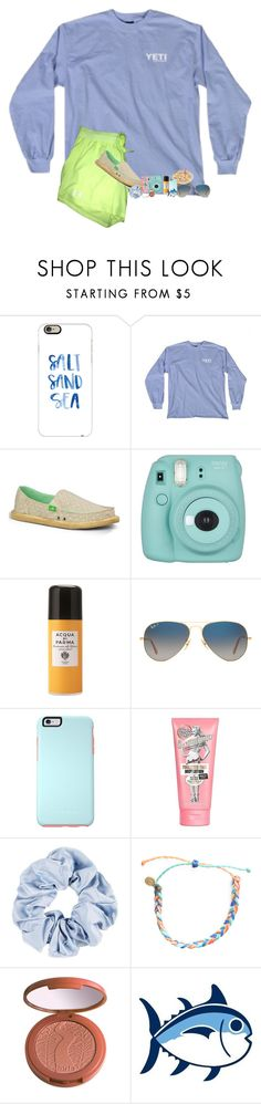 """""""OOTD- Church bonfire @4:00"""" by southernmermaid ❤ liked on Polyvore featuring Casetify, sanuk, Fujifilm, Acqua di Parma, Ray-Ban, OtterBox, Soap & Glory, Pura Vida, tarte and Southern Tide"""