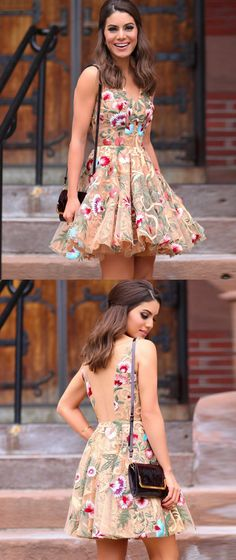 A-Line Dresses,Short Homecoming Dresses,Champagne Dresses,Homecoming Dresses 2017,Floral Lace Dresses