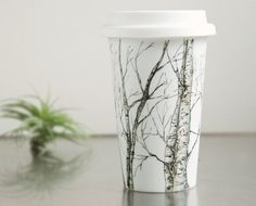 EcoFriendly Painted Ceramic Travel Mug  Birch Trees, by yevgenia