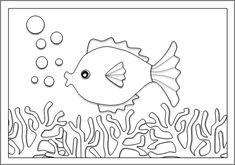 Σελίδα ζωγραφικής ψάρι ανάμεσα στα φύκια Hearts, Symbols, Letters, Letter, Lettering, Glyphs, Calligraphy, Icons