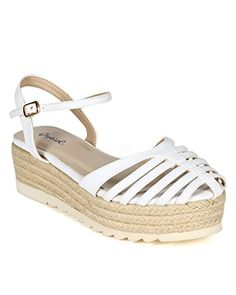 Qupid CB38 Women Leatherette Strappy Caged Espadrille Ankle Strap DOrsay Flatform Sandal  White Size 10 ** See this great product.