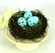 Robin Eggs In Twig Nest Beaded Easter Spring by MeredithDada, $48.00